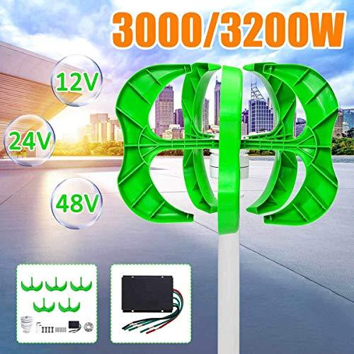 XDDWD Windgenerator, 3200W / 3000W Windgenerator 5-Blatt-Generator 12/24 / 48V Laternenwindkraftanlagen Vertikale Achse für Straßenbeleuchtung im Haushalt + Controller, 3000W,12v