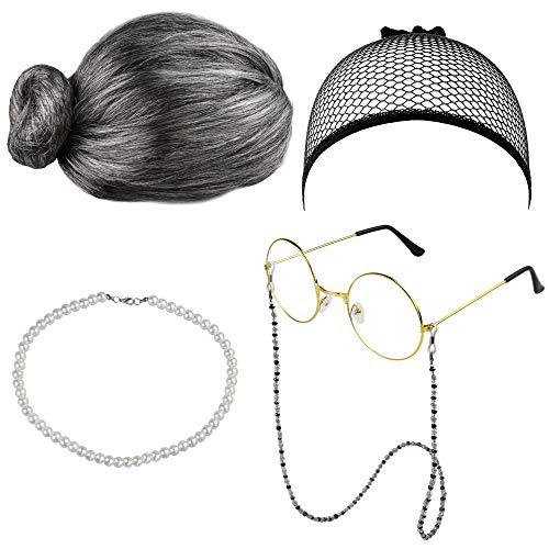 DECARETA Grau Perücke Oma Kostüm Verkleidung Kosplay Zubehör Großmutter Perücke Kappe Oma Brille Perlenkette Fasching Kostüm Zubehör für Karneval Party