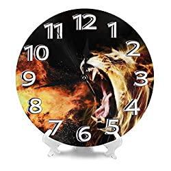 THONFIRE Round Wall Clock Fire Lion Desk Clocks Non-Ticking Decorative Large Numerals Digital Quartz Clock Easy to Read for Household Bedroom Nordic Accurate Sweep