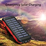 Solar Power Bank Portable Phone Charger 25000mAh【2020 Newest Solar Charger】Battery Pack Water-Resistant 3 Output Ports… 5
