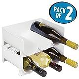 mDesign Juego de 2 botelleros apilables – Práctico organizador de nevera para 3...