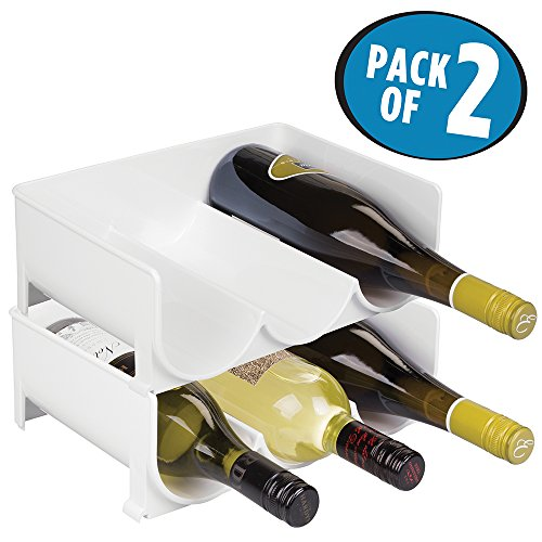 mDesign portabottiglie vino in plastica robusta – Bottigliera e scaffale porta vino per conservazione ottimale di vini – Struttura componibile – Set da 2 – Colore: bianco