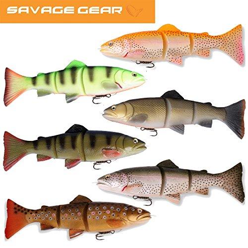 Savage Gear 3D Line Thru Trout Gummifisch Forelle, Kunstköder für Hecht, Zander, Waller, Angelköder zum Spinnfischen und Schleppangeln, Hechtköder, Zanderköder, Wallerköder, Welsköder, Forellenköder, Gummiforelle, Gummiköder, Länge / Gewicht /Schwimmverhalten:30cm / 303g/ moderat sinkend, Farbe:Dirty Roach