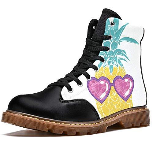 TIZORAX Botas de invierno para las mujeres de piña en forma de corazón gafas de sol impresiones de alta parte superior con cordones clásicos zapatos de la escuela, color Multicolor, talla 41.5 EU