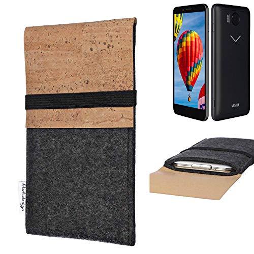 flat.design Handy Hülle SAGRES für Vestel V3 5030 Made in Germany Handytasche Filz Tasche Schutz Case fair Kork