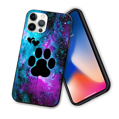 Compatible wtih iPhone 12 Pro Max, TPU Shockproof Protective Scratch-Proof Anti-Slip Slim Hard Shell Bumper Cute Dog Paws Galaxy Pattern Case for iPhone 12 Pro Max 6.7 inch(Galaxy Background)