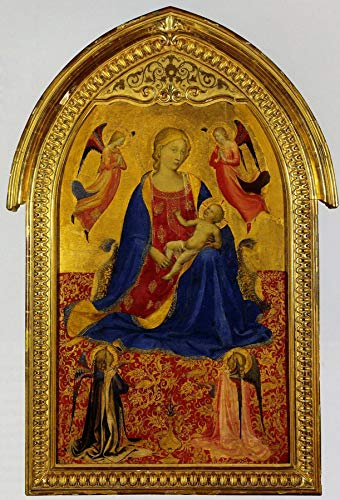 """Fra Angelico Madonna and Child with Four Angels 1425 The State Hermitage Museum St Petersburg 24"""" x 16"""" Fine Art Giclee Canvas Print (Unframed) Reproduction"""