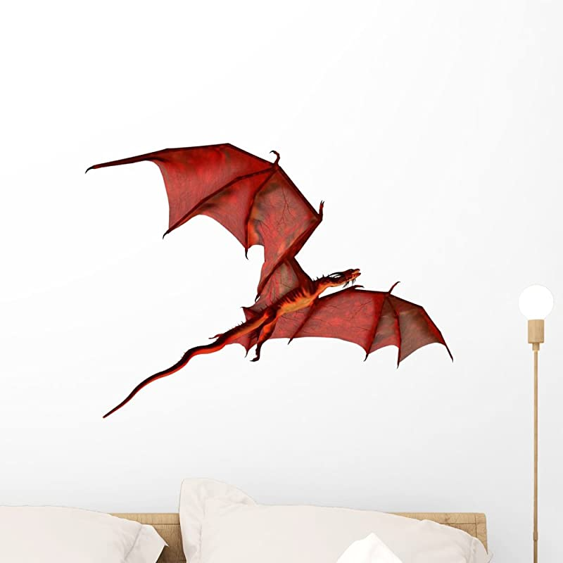 Wallmonkeys Flying Red Dragon Wall Decal Peel And Stick Graphic WM7664 24 In W X 19 In H