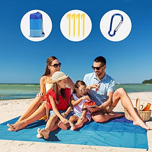 GeeMart Coperta da Spiaggia 210x200cm , Ultraleggero Impermeabile Antisabbia Portatile Tappetino da Picnic, per 4-7 Persone con 4 Picchetti Fixed per Escursionismo Campeggio Spiaggia Picnic
