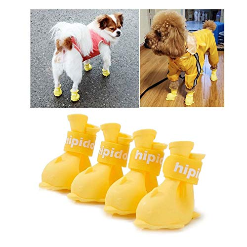 IDOSYS Waterproof Dog Boots Dog Shoes for Snow and Rain Teddy Pomeranian Bichon Middle and Small Dogs 4Pcs (Medium-5.0cm, Yellow)