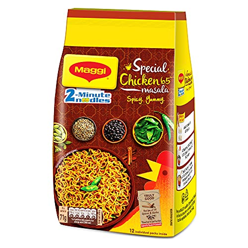 MAGGI 2-Minute Instant Noodles, Special Chicken65 Masala – 852g Pack of 12