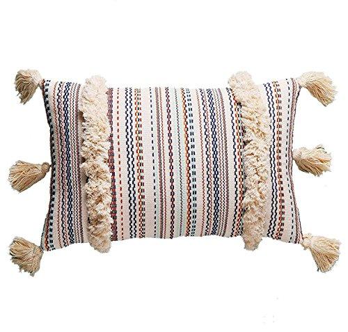 Flber Dekorativer Kissenbezug Boho Kissen Quaste Sham Couch Kissenbezug, 30,5 x 50,8 cm Marokkanisch 12*20 multi