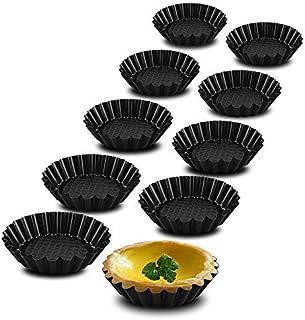 Plat à Tarte, Lot de 10 Moule à Tarte, Revêtement Antiadhésif, Moule à Quiche Pour Tartes, Gâteaux, Pudding, Flan (Noir, Ø...
