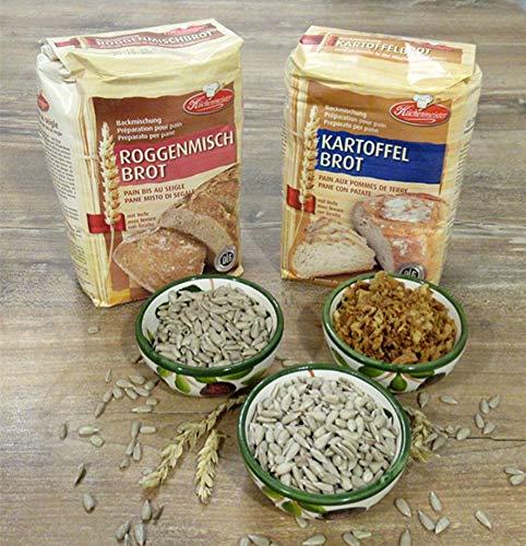 Leguana Handels GmbH 2-er Set Brotbackmischungen Roggenmisch- & Kartoffelbrot, für insgesamt 4x750g Brot, incl. Bio-Sonnenblumenkörner & Röstzwiebeln