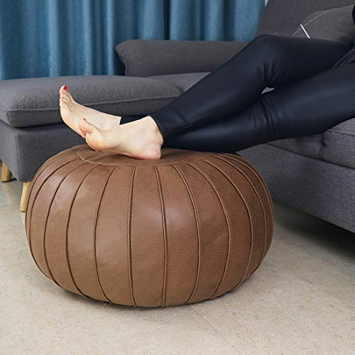 """Thgonwid Handmade Suede Pouf Footstool Ottoman Faux Leather Poufs 23"""" x 14"""" - Storage Round Floor Cushion Footstool for Living Room, Kids Room and Wedding (Unstuffed) (Brown)"""