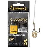 Browning Bronze 12 Feeder Method Vorfachhaken mit Pellet-Band 7,5lbs,3,5kg Ø0,20mm 10cm 8Stück