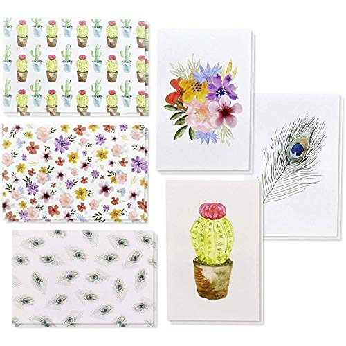 48 Pack Blank Greeting Note Cards with Envelopes for all Occasions (Watercolor Cactus & Floral, 4x6)