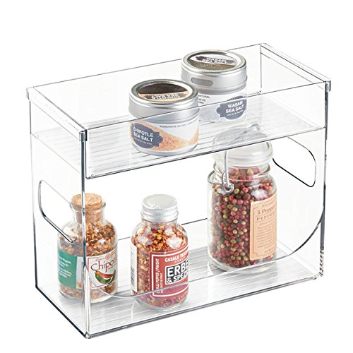 mDesign Especiero de cocina - Organizador de especias transparente con dos niveles - Mueble especiero para ordenar especias o tés