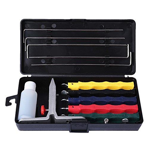 Schärfset Schärfprodukte mit 3 Abziehsteinen Klammer, Führungsstäbe, Schleiföl, Transportbox