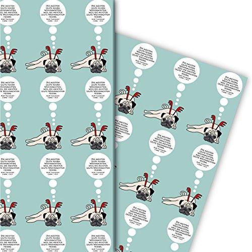 Designer Geschenkpapier Set (4 Bogen) Dekorpapier mit sinnierendem Weihnachts Mops und Spruch, hellblau, als Geschenkverpackung & Überraschung zu Nikolaus, Advent, Weihnachten 32 x 48cm