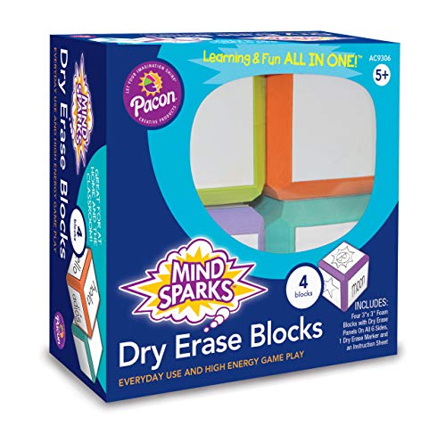Mind Sparks Dry Erase Blocks, Assorted Colors, 3' x 3', 4 Blocks
