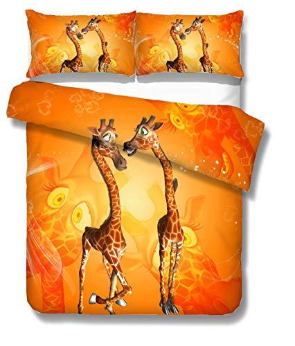 Funda nórdica Animal 3D Jirafa Paisaje Natural de la Puesta del Sol Crepuscular Rojo Imprimir Ropa de cama 3 Piezas (Funda nórdica y 2 Fundas de almohada) (Jirafa naranja, Funda nórdica Cama 1