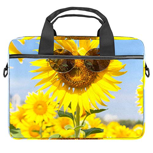 Laptop Umhängetasche 15 Zoll Aktentasche Dokument Messenger Bag Business Handtasche mit Griff & Schultergurt Coole Brille Sonnenblume
