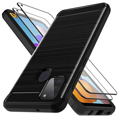 LK Hülle Kompatibel mit Samsung Galaxy A21s und 2 Stück Displayschutz Schutzfolie, Kompletter Schutz Weich TPU Silikon Schutzhülle Kratzfest Handyhülle Case Cover - Schwarz