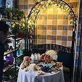 Pergola Arco da Giardino Bianco, Nero Fiori Arco Supporto, Metallo Graticcio con Panchina, Montaggio Facile, 114Lx50Wx206H, per Rose Fiori E Piante Rampicanti