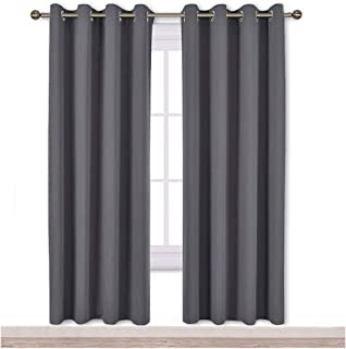 NICETOWN Blackout Curtains Panels for Bedroom - 3 Pass Microfiber Noise Reducing Thermal Insulated Solid Ring Top Blackout Window Drapes (2 Panels, 52 x 72 Inch, Gray)
