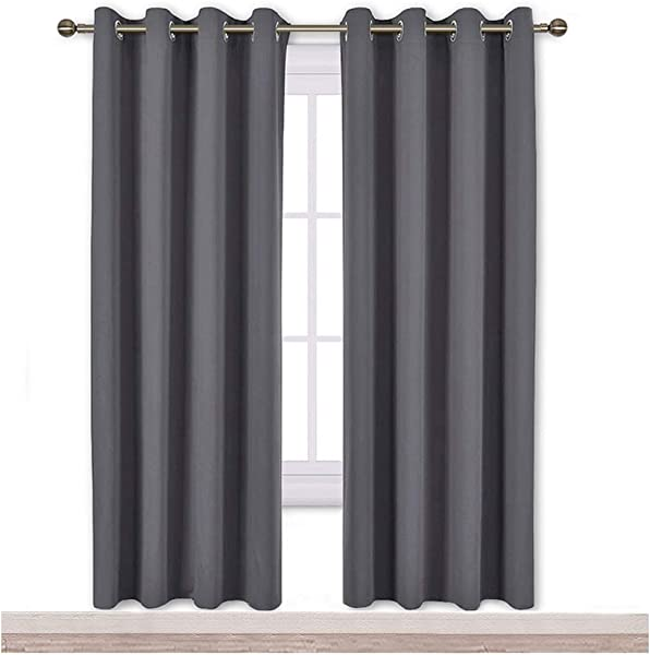 NICETOWN Blackout Curtains Panels For Bedroom 3 Pass Microfiber Noise Reducing Thermal Insulated Solid Ring Top Blackout Window Drapes 2 Panels 52 X 72 Inch Gray