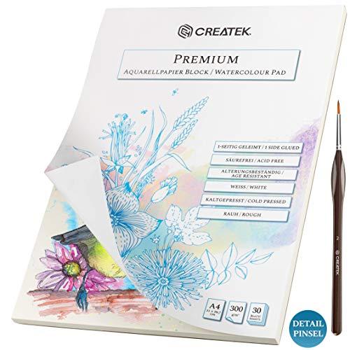 CreaTek Aquarellpapier A4 | 30 Blatt | 300g | geleimt und kaltgepresst + Premium Detail Pinsel und Gratis Illustrationen - hochwertiger Aquarellblock A4 perfekt für Anfänger Watercolor Paper
