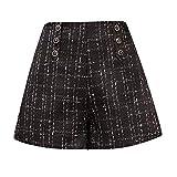 YRIBRA Short Femme en Laine à Carreaux Femme Automne et Hiver Nouveau Style KorUPC Short Taille Haute lâche et épais
