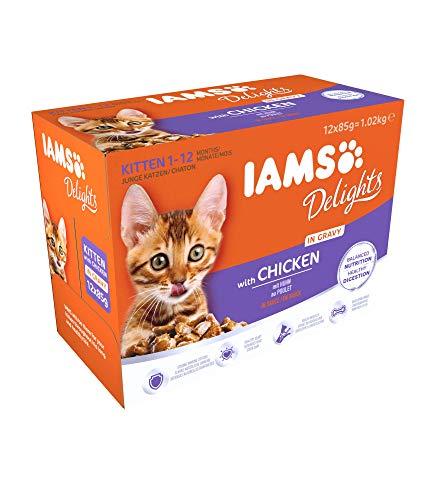 IAMS Delights Kitten Futter mit Huhn in Sauce – Ausgewogenes, hochwertiges Katzen-Nassfutter für jüngere Kätzchen von 1-12 Monate – 12 x 85g Frischebeutel