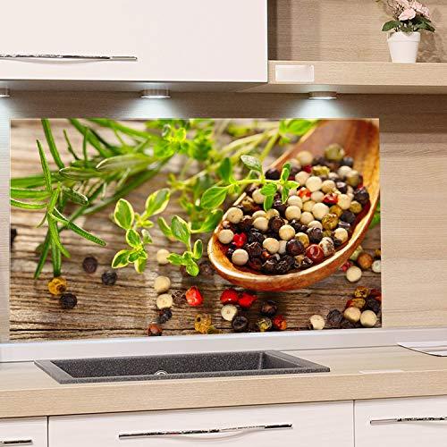 GRAZDesign Spritzschutz Glas für Küche Herd, Bild-Motiv Kräuter Gewürze im Löffel mediterran, Küchenrückwand Küchenspiegel Glasrückwand / 80x40cm