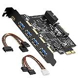 SupaGeek PCI-E a Tipo C (1), Tipo A (4) USB 3.0 Tarjeta de expansión PCI Express de 5 Pue...
