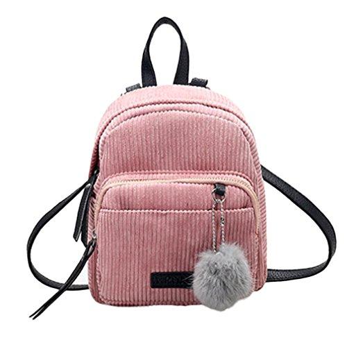 Mochilas Mujer Bolsa de viaje Bolsa de hombro Bolso pequeño de Corduroy LMMVP (24cm*20cm*10cm, Rosado)