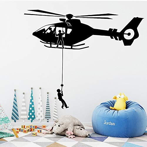 zhuziji Wall Stickers For Hall,Cartoon Air Force Helicopter House Wall Vinyl PVC Waterproof Living Room Company School Office Mural45x108cm