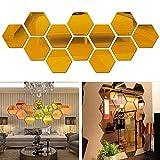 Nuluxi Hexagonal Miroirs Muraux Autocollant Géométriques Hexagone Muraux Miroirs Amovible Acrylique Miroir Stickers Décalque Feuille de Miroir Muraux Décoratif Convient pour Maison Salon Chambre Décor