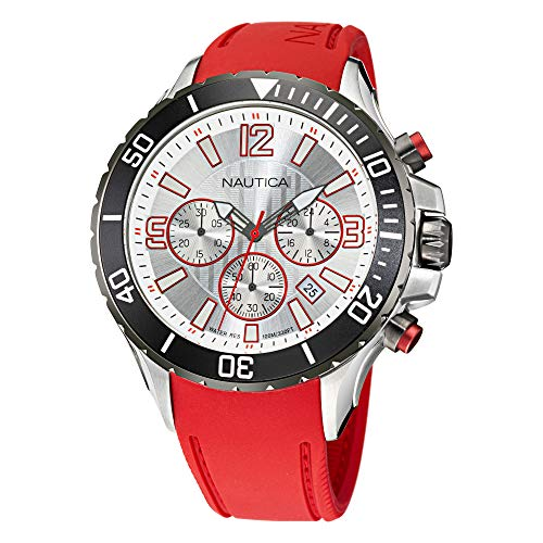 Nautica Men's Stainless Steel Quartz Silicone Strap, Red, 22 Casual Watch (Model: NAPNSS119)