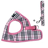 pink plaid puppy/small dog harness/vest with leash