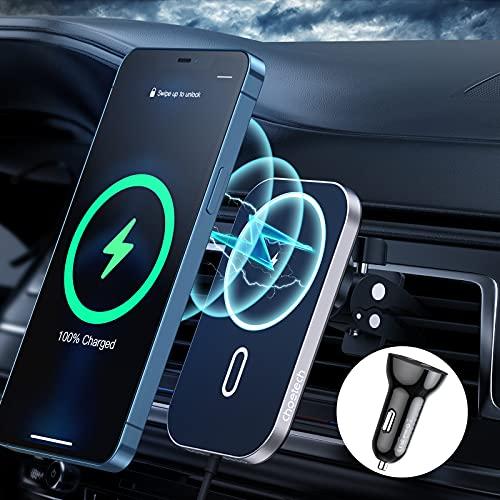 Magnetisches kabelloses Auto ladegerät Kompatibel mit iPhone 12/12 Pro/12 Mini/12 Pro Max,CHOETECH 7.5W Schnellladung Mag-safe Autohalterung Drahtloses Ladestation (Verwendung mit Magnet-Telefonhülle)