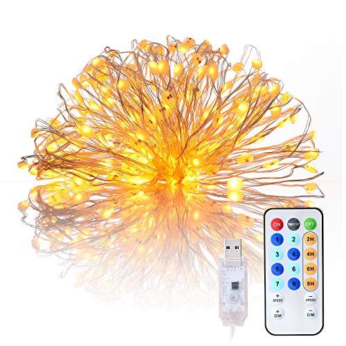 20M Led Lichterkette, 200er USB Led Kupferdraht Lichterkette Wasserdicht mit Timer 8 Modi Stimmungslichter Lichterkette für Garten Weihnachten Hochzeit Party Diy Innen und Außendekoration Warmweiß