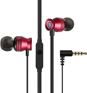 GGMM イヤホン カナル型 有線 高音質 密閉型 遮音 マイク内蔵 ハンズフリー 通話 通勤 通学用 イヤフォン Android/iOS対応 C300 赤(1ボタン)