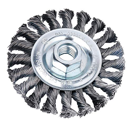 HOYIN 4Inch Wire Wheel Brush, Twist Knotted, Carbon Steel,5/8-11UNC Thread Arbor for Grinder