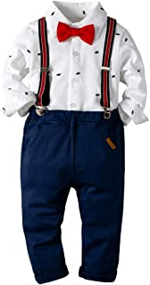 Baby Boys Fashion Gentleman Pants Clothing Set Long Sleeves Shirt+Suspender Colorful Pants+Bow Tie Toddler 4Pcs Set