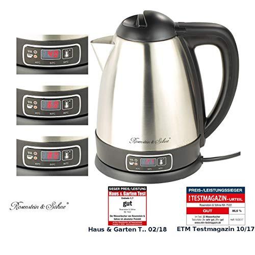 Rosenstein & Söhne Tee Wasserkocher: Edelstahl-Wasserkocher mit Temperatur-Wahl, 1,8 Liter, 1.830 Watt (Wasserkocher mit Temperaturwahl)