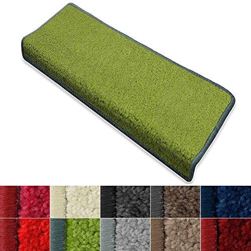 casa pura Stufenmatte Dynasty Velours | Halbrund oder eckig | In 7 Farben (Stufenmatte rechteckig 15 Stück, Grün)