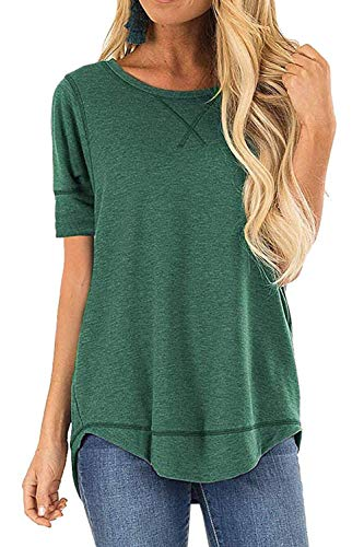 JomeDesign Womens Tops Casual Loose Tunic Top Green Large