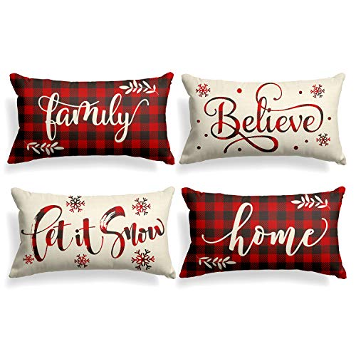 AVOIN Christmas Saying Buffalo Plaid Throw Pillow Cover, 12 x 20 Inch Winter Holiday Farmhouse Cushion Case for Sofa Couch Set of 4